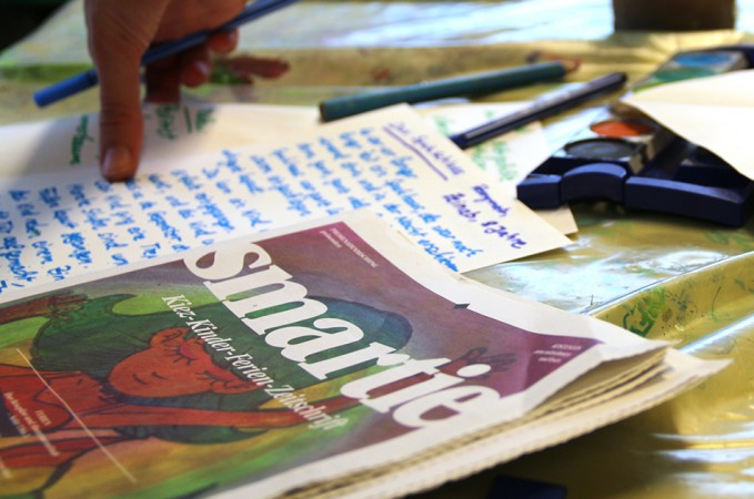Die Bastelwerkstatt der Kinderwelt am Feld – hier entstehen die Themen für die neue Smartie-Ausgabe.